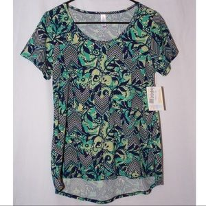LuLaRoe Classic-T in Blue, green, yellow floral